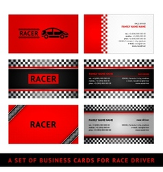 Business cards red race - first set vector