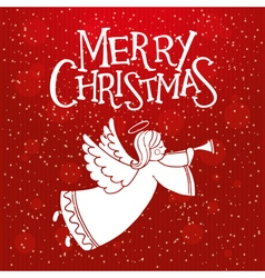 Red christmas card with christmas angel vector