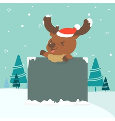 Christmas of reindeer holding board vector