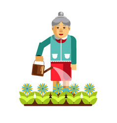 Grandmother watering flowers in the garden vector