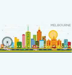 Melbourne skyline with color buildings and blue vector