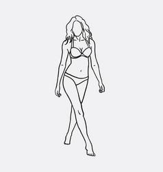 Woman in bikini sketch vector