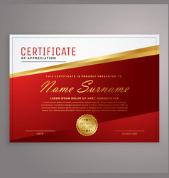 Creative red and golden certificate design vector
