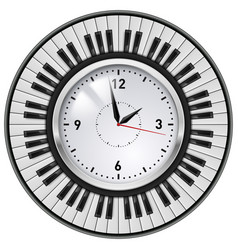Realistic office clock and piano keys on white vector