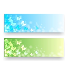 Banners with butterflies vector