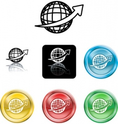 Wire globe icons vector