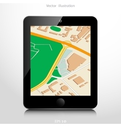 Navigation background with mobile device vector