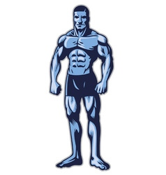 Man with muscle bodybuilder body vector