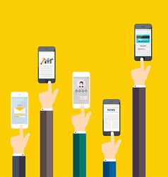 People holding a phone business flat vector