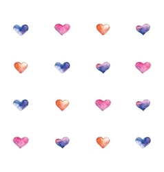 Pattern with watercolor hearts vector