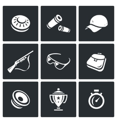 Set of clay shooting icons plate bullet vector
