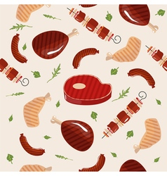 Grill barbecue meat seamless pattern in flat style vector