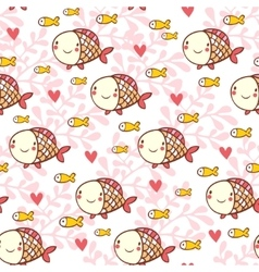Sweet childish seamless pattern with fish vector
