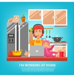 Housewife Design Concept At Kitchen Interior vector image
