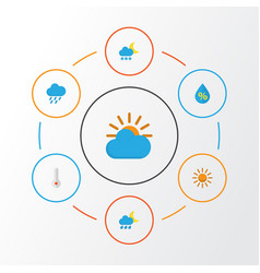 Air flat icons set collection of frosty sun vector