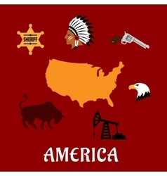 American cultural and historical symbols vector image vector image