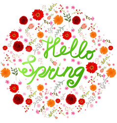 Beauty spring text with colorful flower vector