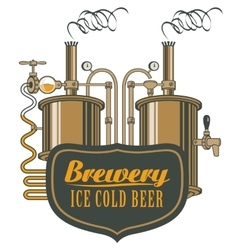 Beer brewery with barrels vector