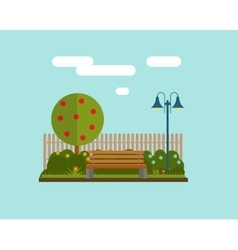Bench under a tree in the park flat style vector
