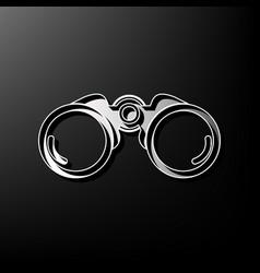 Binocular sign gray 3d vector