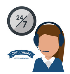 call center woman headset service 24 7 vector image