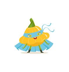 Cartoon character of superhero pattypan squash vector