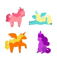 Cartoon Cute Unicorns Set vector image vector image