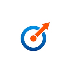 Circle shape arrow blue red color logo vector