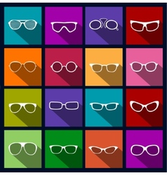 colorful icons sunglasses vector image vector image