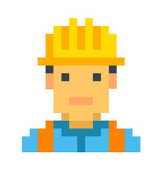 Construction worker builder pixel art cartoon vector