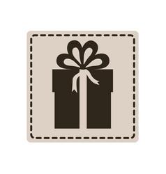 Emblem sticker box with bow ribbon icon vector