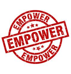 Empower round red grunge stamp vector