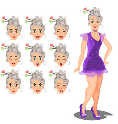 female avatar expressions vector image