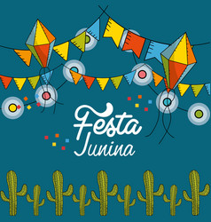 festa junina with flags party and chain bulbs with vector image