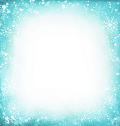 Frame of snowflakes on a watercolor turquoise vector