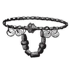 Gallic necklace has amber vintage engraving vector