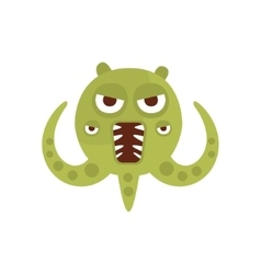 Green aggressive malignant bacteria monster with vector