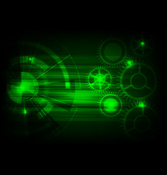 green tech background with shining abstract vector image