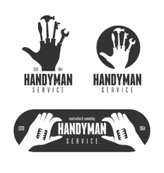 Handyman logos emblems badges in vintage style vector image