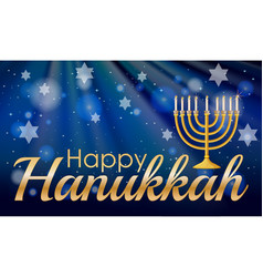 happy hannukkah with candles and stars vector image vector image