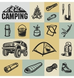 Hiking mountain and camping equipment - icon set vector image
