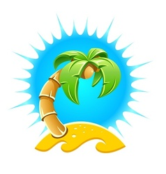 Island with palm and sand vector image vector image