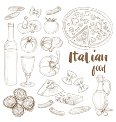 Italian food set vector image