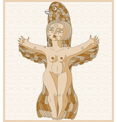 Lined of bizarre creature nude woman with w vector