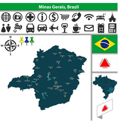 Map of minas gerais brazil vector