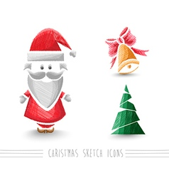 Merry Christmas sketch style elements set EPS10 vector image vector image