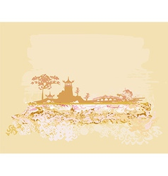 old paper with Asian Landscape vector image vector image