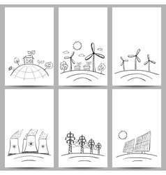 Power station energy cards doodles vector