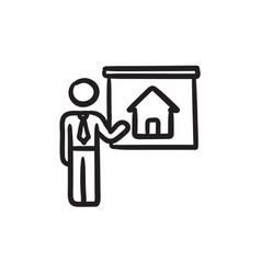 Real estate agent showing house sketch icon vector