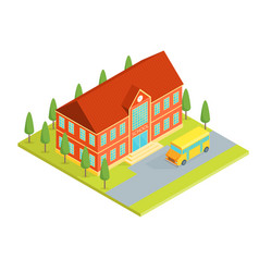 school building isometric view vector image vector image